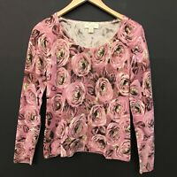 Mainbocher Womens 100% Cashmere Pink Rose Floral Print Pullover Sweater sz S