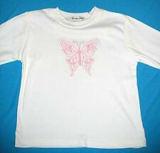 Girls white pink butterfly l/s t shirt top sz 4 NEW