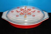 Vintage Red Pyrex Milk Glass 2-Handle, 1-1/2 Quart Divided Covered Casserole