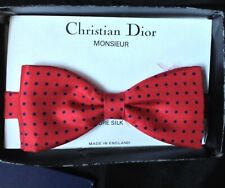 Christian Dior 100% Pure Silk Bow Tie, Red, Made In England 1988 Receipt
