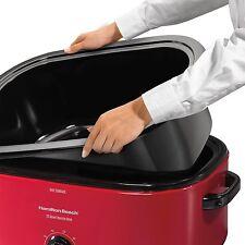 Turkey Roaster Oven Electric Slow Cooker Roast Bake Cook Turkey Roasting Pan Red