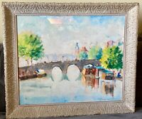 Signed  Original Vincenzo Fioravanti Framed Oil Painting Paris 20th Century