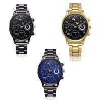 Mode Casual Herren Kristall Edelstahl Analoges Quarz Round Armbanduhr Armband