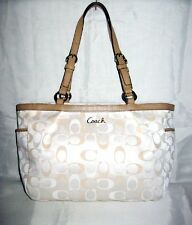 COACH GALLERY Three Color SIGNATURE Canvas w/ Leather Tote/Shoulder Bag Size M