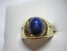 Diamond Men'S Fashion Ring Size 7.75 Vintage 14K Yellow Gold & Star Sapphire