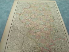 RARE 1888 ANTIQUE MAP OF ILLINOIS