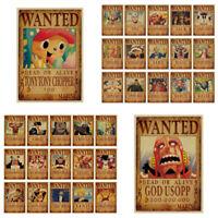 Wall Sticker Home Bar Decro Cartoon Anime Vintage One Piece Posters Retro Paper