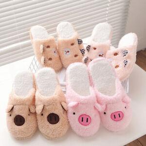Women Cotton Winter Pig Slippers Flip Flop Cute Home Floor Soft Warm Sh_yk