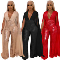 Womens Rompers Clubwear Backless Party Cocktail Jumpsuit V-neck Playsuit Sequin