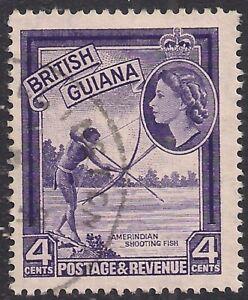 British Guiana 1954 - 63 QE2 4ct Amerindian Shooting Fish used SG 334 ( T589 )