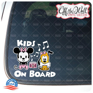 "Minnie and Puppy Cuties""Kids On Board"" Sign Vinyl Decal Sticker #PDCV"