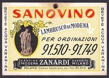 SANOVINO Cartolina - Cartoncino da appendere VINO LAMBRUSCO DI MODENA ZANARDI