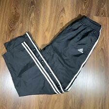 VTG Adidas Snap Button Pants Tearaway Black White Nylon Windbreaker Mens Medium