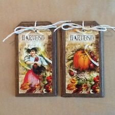 5 Handcrafted Wood Fall Harvest Hang Tags/THANKSGIVING Ornaments/GiftTags SET00: