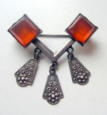 Antique Vintage Ornament Silver Brooch Pin Fibula With Amber And Pendants (4)