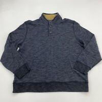 GH Bass & Co Jacket Mens 2XL XXL Gray Button Up Mock Neck Fleece Lined Pullover
