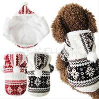 Pet Dog Snowflake Print Winter Coat Jacket Puppy Cat Coral Fleece Hoodie Clothes