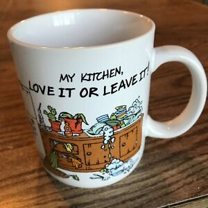 """My Kitchen Love It or Leave It Cup Mug Hallmark Japan 3.75"""" X 3.25"""" Cat Rescue"""