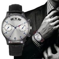 Mens Fashion Retro Design Watches Leather Band Analog Alloy Quartz Wrist Watch