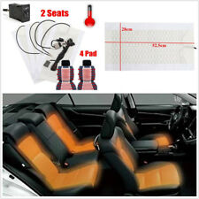 2 Seats 4 Pads Carbon Fiber Heated Car Seat Heater Pads Winter Warmer Seat Cover