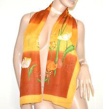 FOULARD estola bronce marrón amarillo mujer 40% seda chal velado bufanda G38