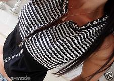 Jacke Neu XS S M Weste Bluse Top Shirt Streifen Blogger Trend Boho Business Edel