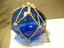 """BLUE  color Glass Fishing Float with netting 8"""" diameter"""