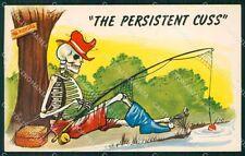 Sport Pesca Scheletro Skeleton Comica cartolina postcard QT5060