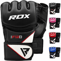 RDX Leather Grappling Boxing MMA Gloves Punch Fight Training Martial Arts