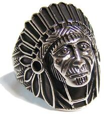INDIAN CHEIF FACE W BONNET STAINLESS STEEL RING size 9 - S-541 biker MENS womens