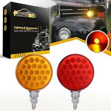 2xRed/Amber 48 LED Truck Stop Turn Tail Stud Double Face Lights w/Chrome Housing