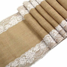 2.75mx30cm Lace Natural Burlap Jute Hessian Table Runner Cloth Wedding XI