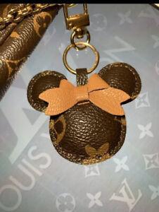 **WOW** Designer Keychain BROWN Teddy Bear Leather Tassel Keyring