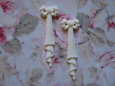 Shabby & Chic Bow/Ribbon Drops Pair Furniture Applique Architectural Onlay