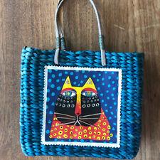 Sun N Sand Straw Tote Bag Blue Lauren Burch Cat  Woven Rattan Leather Handles