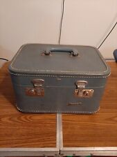 Vintage Monarch Blue Train Case Travel Suitcase Luggage no key