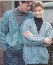 "Ladies & Mens V-neck Cardigans with  Knitting Pattern Chunky 32-46"" 1065"