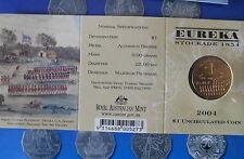 "2004 EUREKA STOCKADE  $1 "" M "" MINT MARK AUSTRALIAN UNC IN ORIGINAL MINT FOLDER."
