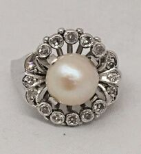 VINTAGE PEARL & DIAMOND COCKTAIL PLATINUM RING