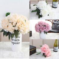5 Head Bouquet Artificial Silk Fake Large Peony Flowers Wedding Bridal Decor US