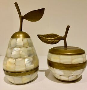 Vintage Brass And Mother Of Pearl Trinkets Box Set An Apple And A Pear