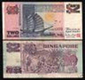 SINGAPORE 2 DOLLARS P34 1997 BOAT LION *REPLACEMENT* ZZ PREFIX MONEY BANK NOTE
