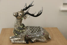 Stunning Lying Down Sequined And Beaded Silver Reindeer