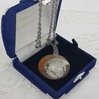 VINTAGE Fossil Pendant Necklace Fossilised Stone Ammonite Fossil Silver Tone