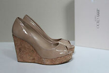 New 10.5 / 40.5 Jimmy Choo Papina Nude Patent Cork Espadrille Wedge Sandal Shoes