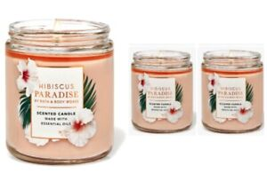(3) Bath & Body Works LOT OF 3 HIBISCUS PARADISE Single Wick Candles Brand NEW
