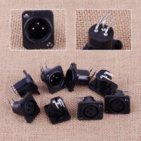 10x Plastic XLR 3pin Female Jack Panel Mount Chassis PCB Socket Connector Black