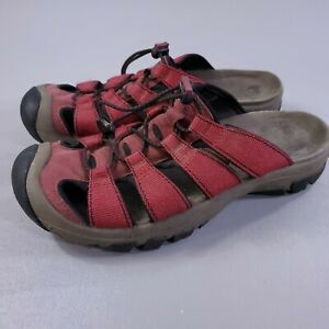 Keen Hiking Sandals Mens Size 9 Slip On Red Rubber Toe Outdoor Trail Shoes