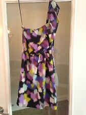 Roxy Purple Colorful Abstract Design Ruffle One Shoulder Dress Sz XS