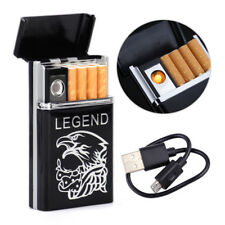 Windproof Dual Arc USB Rechargeable Flameless Lighter &Cigarette Box Case Holder